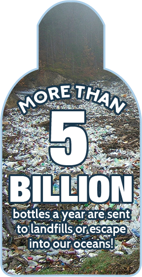 More than 5 billion bottles per year are sent to landfills or escape into our oceans!