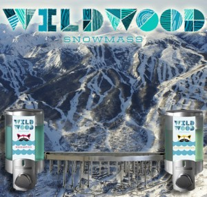 Wildwood snowmass dispensers connected by metal rack with snowy mountains in background dispenser amenities