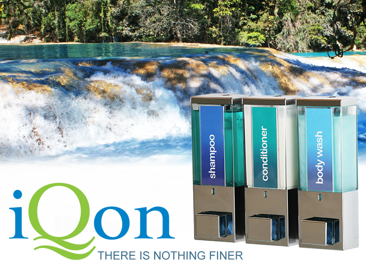 iqon there is nothing finer dispensers in foreground white water river in background dispenser amenities