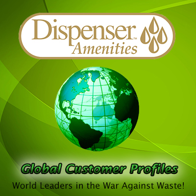 Dispenser amenities logo global warming profiles world leaders in the war against waste globe in background dispenser amenities