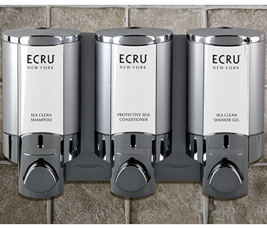 ecru new york sea clean shampoo protective silk conditioner and sea clean shower gel dispensers on brick wall background dispenser amenities