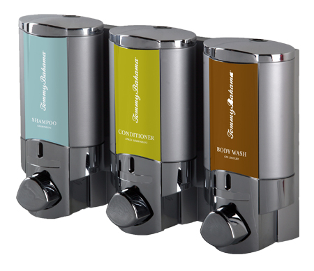 tommy bahama shampoo conditioner and body wash dispensers on white background dispenser amenities