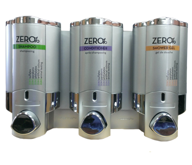 zero shampoo conditioner and shower gel dispensers on white background dispenser amenities