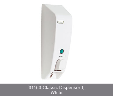 Classic i soap dispenser in white on white background 31150 classic dispenser i, white dispenser amenities