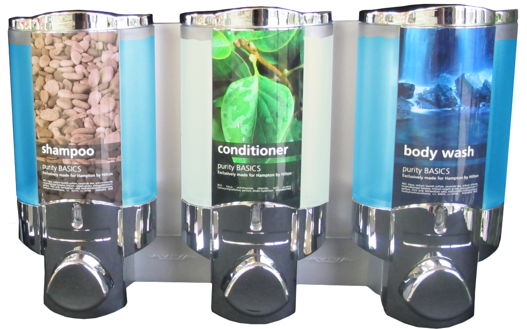 aviva shampoo conditioner and body wash dispensers chrome translucent on transparent background dispenser amenities