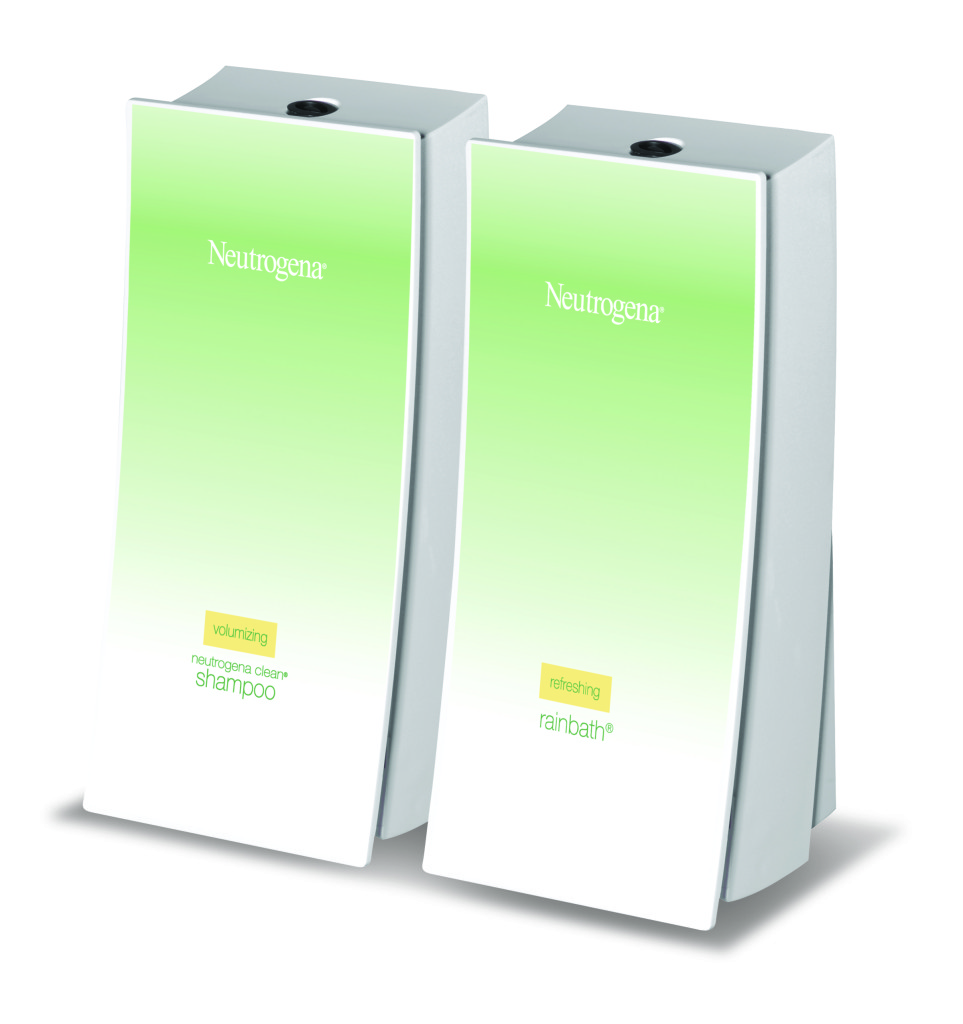 two wave shampoo and rainbath neutrogena dispensers on white background dispenser amenities