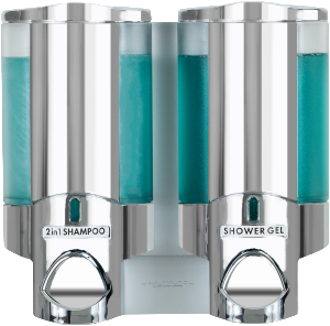 avivia II translucent chrome 2 in 1 shampoo and shower gel dispensers on transparent background dispenser amenities