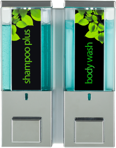iqon II chrome translucent shampoo plus and body wash dispensers on transparent background dispenser amenities