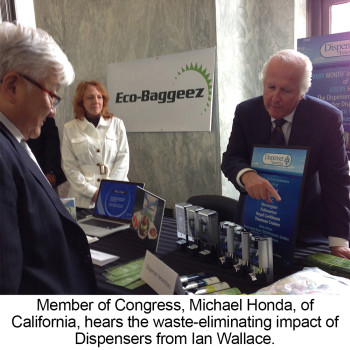 members of congress michael honda of california hears the waste-eliminating impact of dispensers from ian wallace dispenser amenities