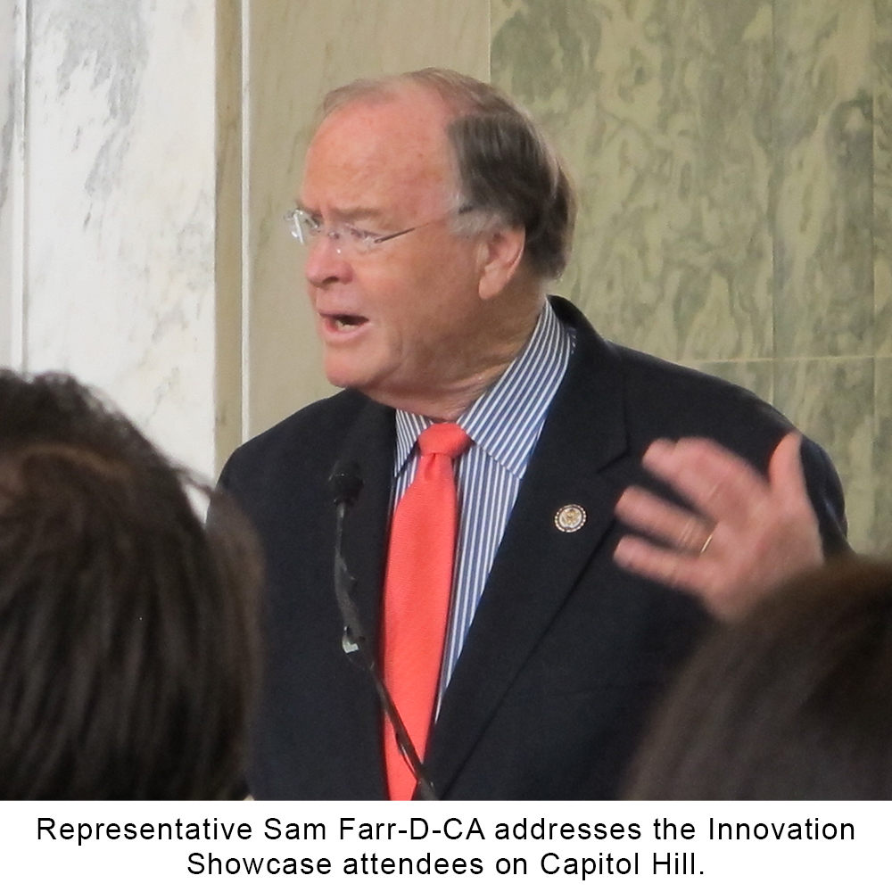 representative sam farr-D-CA addresses the innovation showcase attendees on capital hill dispenser amenities