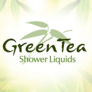 Green Tea Shower liquids logo green and yellow background dispenser amenities