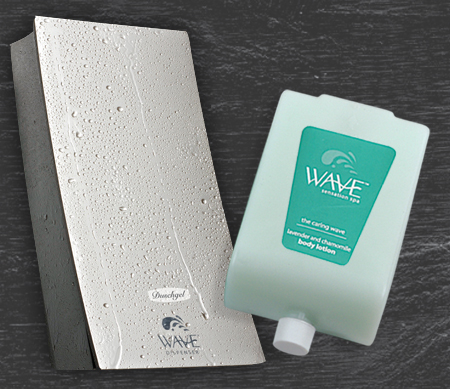Wave body lotion cartridge beside wave dispenser covered in water droplets dispenser amenities