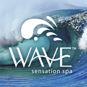 wave sensation spa logo with rolling wave in background dispenser amenities