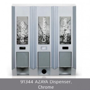 Azaya Chrome shampoo conditioner and body wash dispenser 91344 azaya dispenser chrome on white background dispenser amenities