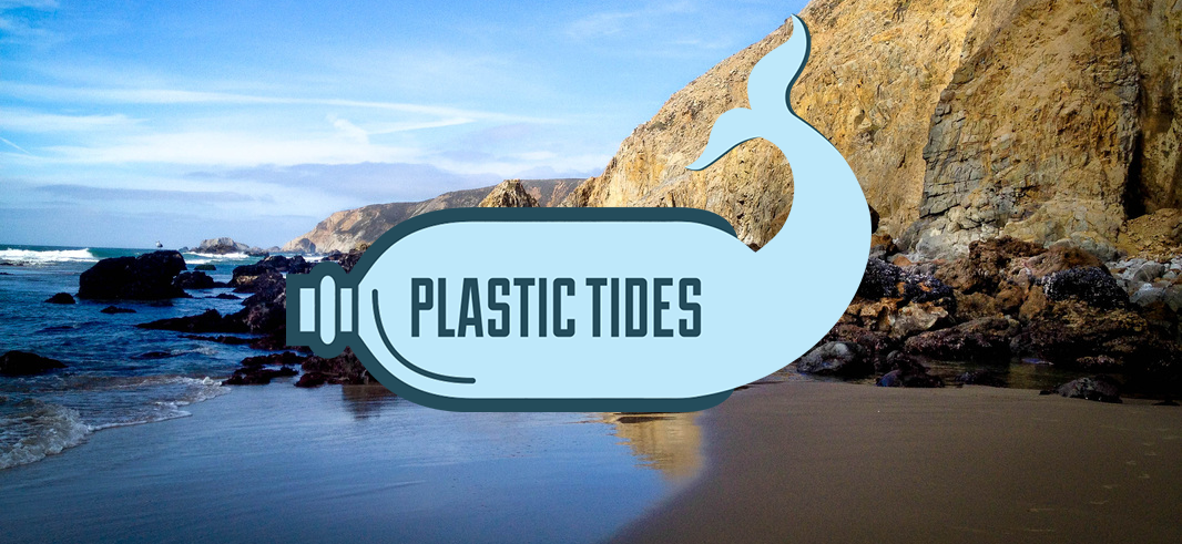 plastic tides logo in front of rocky shoreline dispenser amenities