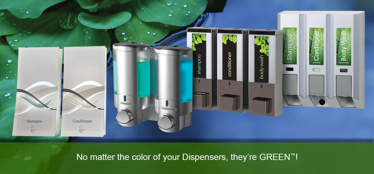 various conditioner and shampoo dispensers in front of pond with lily pads No matter the color of your Dispensers, they're GREEN™!