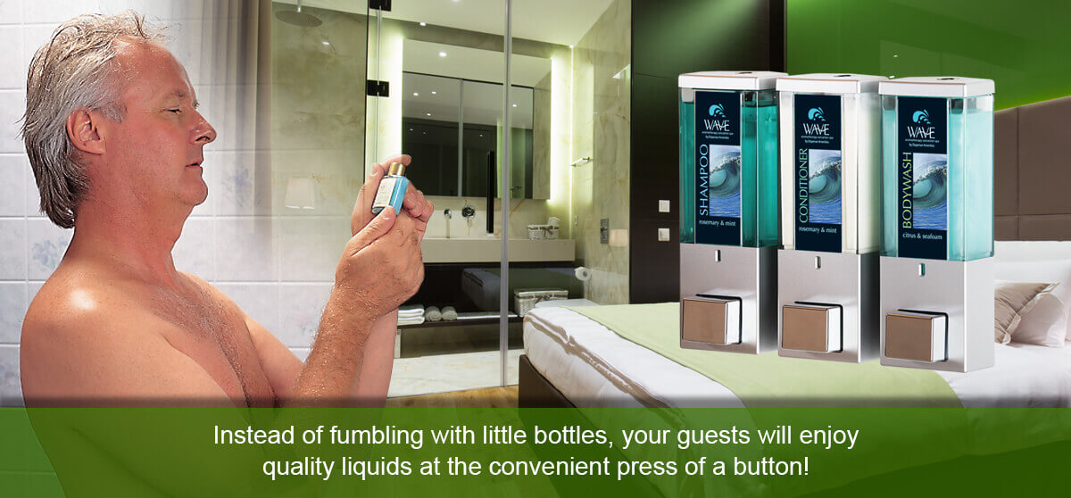 shampoo conditioner and pody wash dispensers in front of shower with man looking at small plastic bottle instead of fumbling with little bottles your guests will enjoy quality liquids at the convenient press of a button dispenser amenities