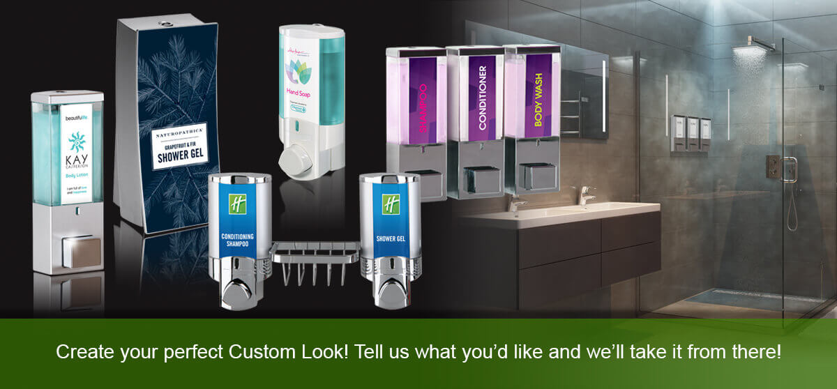 various soap shower gel and shampoo dispensers in front of bathroom create your perfect custom look tell us what you'd like and we'll take it from there dispenser amenities