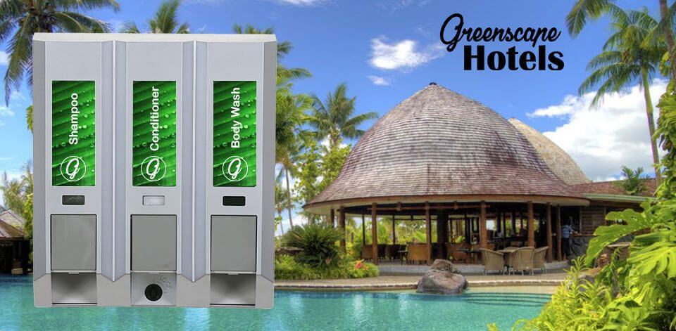 greenscape hotels shampoo conditioner and body wash dispensers connected domed roof hut large pool dispenser amenities