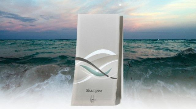 wave shampoo dispenser with ocean background dispenser amenities