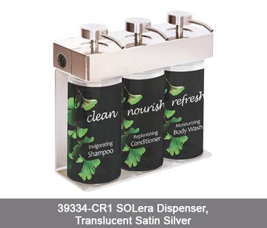 three soap dispensers in metal holder SOLera Dispenser translucent satin silver white background dispenser amenities