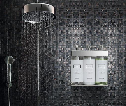Luxury shower in domestic bath with italian glass mosaics