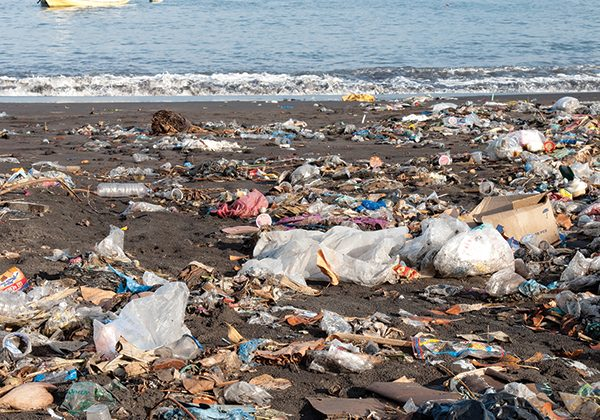 Trash on a polluted beach, indonesia
